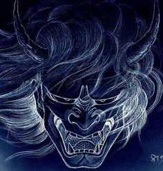 Japanese Drawings, Japanese Artwork, Samurai Tattoo, Samurai Art, Oni Art, Japanese Demon Tattoo, Oni Demon, Hannya Tattoo, Japan Tattoo