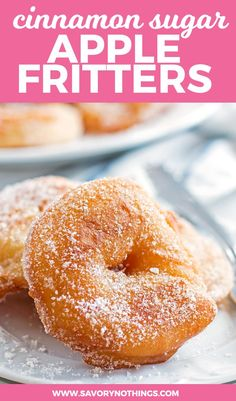 Ever thought about making homemade apple fritters? You should give this easy recipe a try. The apple rings are fried and then dipped into cinnamon sugar - fall perfection! (also very late on the mark but haPPY 5000 PINS TO MY DESSERT BOARD WOOO! Baked Apple Dessert, Apple Dessert Recipes, Donut Recipes, Fruit Recipes, Baking Recipes, Delicious Desserts, Yummy Food, Easy Fall Desserts, Easy Homemade Desserts