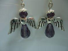 Modern woman's Dangle Purple Fantasy Angel Earrings by Shabyas, $19.98