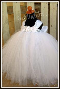 tutu dress, white flower girl dress,  Toddler flower girl dress. $81.00, via Etsy.