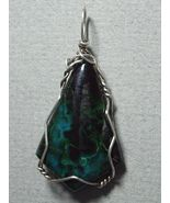 .925 SS Wire Wrapped Chrysocolla-Hematite Pendant by Jemel - $92.00