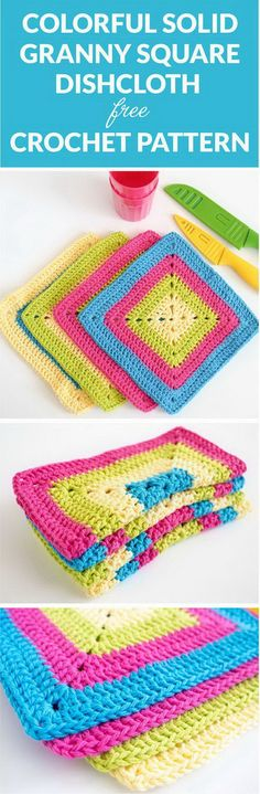 Colorful Solid Granny Square Dishcloth.