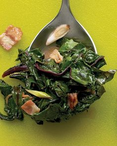 Beet Greens with Bacon! Beet greens are also a great source of iron. and well BACON speaks for its self.in moderation of course! Beet Recipes, Bacon Recipes, Veggie Recipes, Healthy Recipes, Recipies, Healthy Eats, Dinner Recipes, Whole30 Recipes, Healthy Drinks