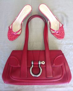 Burberry Red Leather Purse $406, Kate Spade Red Slides sz.9.5 $81