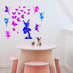 Fairies and Butterflies Wall Decal-Nusery Decal- Vinyl wall decal--Big 60 X 50 inch sticker by aluckyhorseshoe on Etsy