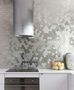 Spritzschutz Herd moderne Küche Mosaik Küchenrückwand