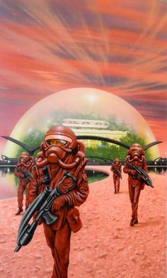 No info on this Jim Burns image showing space soldiers armed to the teeth on some kind of partially colonized alien world. Would love to know what this is from. Great colours and styling as always.