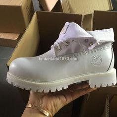 2017 Fashion Timberland Women's Roll Top All White SmoothBoots Lug Thick Soles $ 75.00