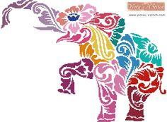 Tribal elephant cross stitch kit
