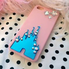 Pink and Blue Castle Iphone 4 case