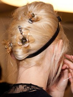 Fall 2012 Beauty Trends - Tory Burch featured loose wispy strands with plenty of hair pins -- headbands and accessories are uber HOT + SEXY!