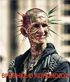 Punk's not dead. This one is by the looks of things; this Johnny's gone rotten. Out of date by at least three years! Borneo Tattoo, Punk Mode, Punks Not Dead, Bad Tattoos, Bizarre, Chef D Oeuvre, Crazy People, Stupid People, Grunge Hair
