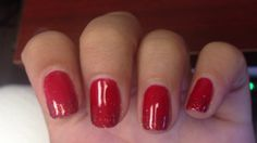 Red nails with red glitter tips
