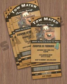 Hey, I found this really awesome Etsy listing at http://www.etsy.com/listing/104565852/tow-mater-ticket-invitation
