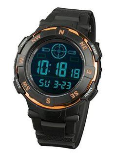 INFANTRY Men's Sport Digital Wrist Watch with Strong Rubber Strap-Orange