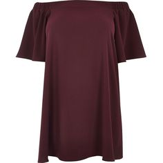 River Island RI Plus dark red bardot swing dress ($38) ❤ liked on Polyvore featuring dresses, tops, red, plus size red dress, purple swing dress, red short sleeve dress, plus size purple dress and short-sleeve dresses