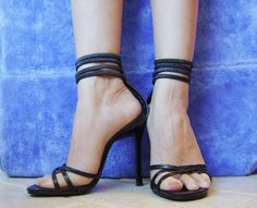 Herstyle zipper back ankle strap sandals