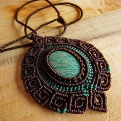 Macrame Necklace Pendant Cabochon Amazonite Cotton Waxed Cord Handmade #Handmade #Wrap