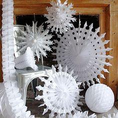 Set Of Five Paper Snowflake Fan Decorations - christmas decorations