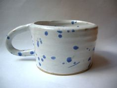 white and blue splatter ceramic coffee mug by mossceramics on Etsy