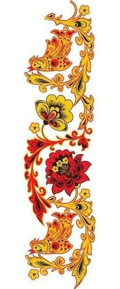 Folk Khokhloma painting from Russia. A floral pattern with two birds in red, yellow and black colours.