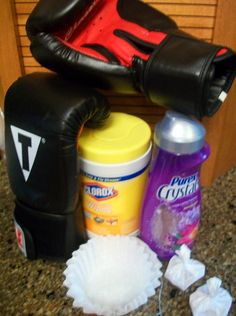 Clean those boxing gloves: Wipe with Clorox and let dry. Then make sachets using coffee filters, twist-ties and Purex Crystals. Store gloves with sachets inside until your workout.