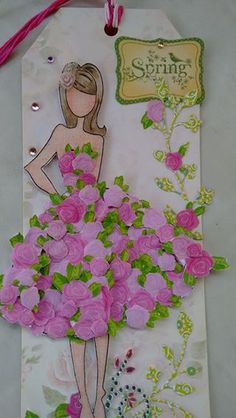 Made by Neli Knupp. Prima Paper Dolls, Prima Doll Stamps, Dress Card, Paper Tags, Card Tags, Gift Tags, Kirigami, Tag Art, Diy Cards