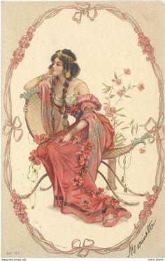 Illustrators & photographers - Cpa illustrateur - Femme 1900 ( gaufrée )