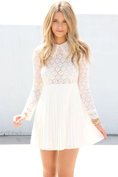 SABO SKIRT Pearl Lace Dress - Cream - $62.00