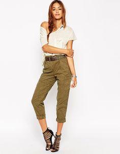 Image 1 ofASOS Premium Jacquard Trousers with Utility Belt