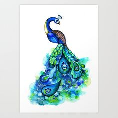 Peacock Feather Watercolor Painting - Abstract Nature Inspired Blue Wall Art - FREE SHIPPING - 5x7, 8x10, 11x14, 12x16 + Print