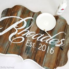 Bracket-shaped 'Barn Board' plaque... perfect homemade gift for a bride and groom! {Reality Daydream}