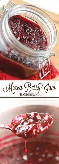 Mixed Berry Jam - This is my FAVORITE homemade jam. It is gone in DAYS in our house. Super easy to make and way better than store-bought jelly. Mixed Berry Jam, Mixed Berries, Mix Berry, Canning Recipes, Wine Recipes, Easy Canning, Jelly Beans, Homemade Butter, Sauces