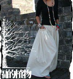 White women skirt fashon skirts Long Skirts Linen by fashiondress6, $56.50