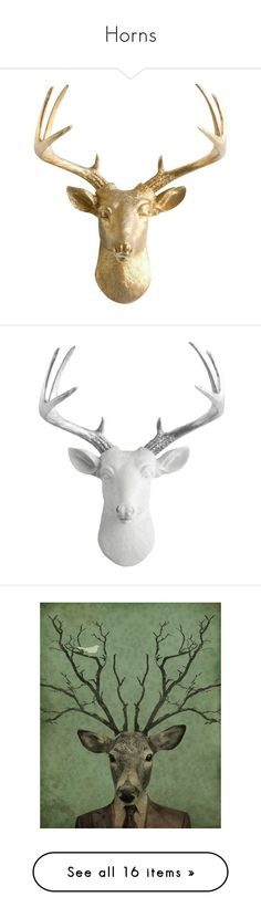 """Horns"" by callmejupiter ❤ liked on Polyvore featuring home, home decor, sculpture, antler home decor, metallic home decor, miniature sculpture, deer sculpture, head statue, white home decor and deer antler home decor"