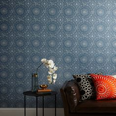 Buy Indian Blue John Lewis & Partners Persia Wallpaper from our Wallpaper range at John Lewis & Partners. Indian Bedroom, Blue Bedroom, Bedroom Decor, Aztec Bedroom, Bedroom Ideas, Hall Wallpaper, Green Wallpaper, Wallpaper Online, Wallpaper Designs