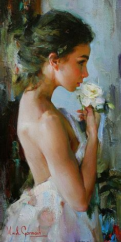 Artists: Michael and Inessa Garmash, oil on canvas {contemporary figurative beautiful female flower young woman profile portrait painting}
