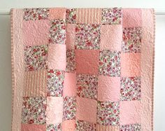 Adorable Baby Girl Quilt with Floral Watercolor Prints Pink Peach Violet Lavender Ivory