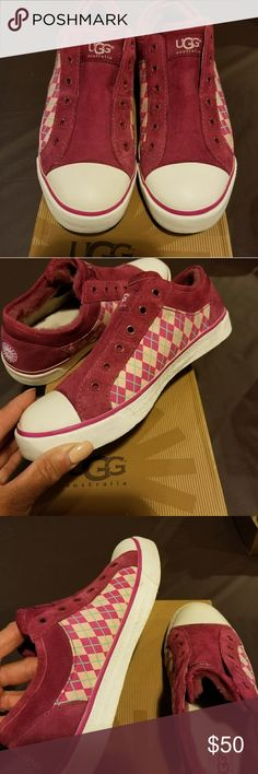 Uggs Women's suede/canvas with fur inside of shoe very comfortable slip ons ...so the color didn't say but they r a maroon color with fushia pink and turquoise on the side of shoe hope this helps... UGG Shoes Sneakers
