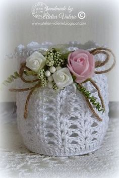 Crochet Votive Cover pattern by NW Nature Nut Crochet Stitches Patterns, Thread Crochet, Crochet Bowl, Free Crochet, Mason Jar Crafts, Bottle Crafts, Crochet Jar Covers, Crochet Decoration, Crochet Baby Clothes