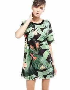 Bershka México - Vestido Bershka felpa estampado tropical