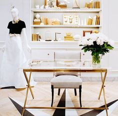 ME: Home Office Ideas ORIGINAL: Glam in gold! This is a super chic home office look. Cheers to getting loads of work done! Suppose Design Office, Home Office Design, Home Office Decor, House Design, Home Decor, Office Ideas, Office Style, Office Inspo, Workspace Design