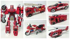 超大合体变形金刚 救火战队5合1 Oversized Transformers combiners fire rescue team robot...