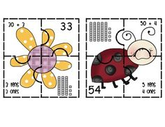 spring themed place value puzzles - cute math center