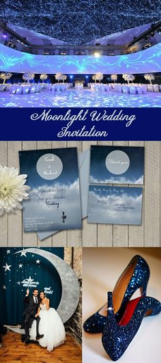 https://www.etsy.com/listing/515658822/moonlight-wedding-invitation-starry?ref=shop_home_active_2 Wedding invitation, moon wedding, galaxy wedding, under stars, to the moon and back, blue wedding, wedding ideas, wedding moon theme, starry night wedding invitation, moonlight