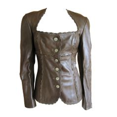 Azzedine Alaia vintage brown leather hinge jacket