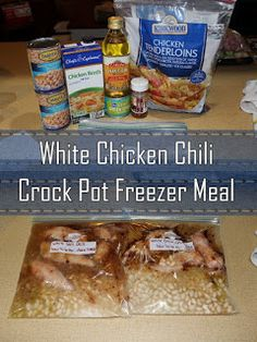 Growing to Four: White Chicken Chili Crock Pot Freezer MealYou can find Crock pot chili and more on our website.Growing to Four: White Chicken Chili Crock Pot Freezer Meal Chicken Freezer Meals, Freezer Friendly Meals, Budget Freezer Meals, Slow Cooker Freezer Meals, Crock Pot Freezer, Freezer Cooking, Crock Pot Cooking, Frugal Meals, Crock Pot Dump Meals