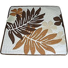 "Hawaiian Monstera Leaf Brown Quilted Throw Pillow Cover- 16"" Green East of Maui Hawaiian Store http://www.amazon.com/dp/B00PWVLR40/ref=cm_sw_r_pi_dp_rlJDvb1C9EXTR"