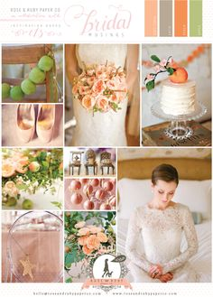 Pretty Peach and Apple Green Wedding Inspiration by Rose & Ruby Paper Co. @Rose Murphy