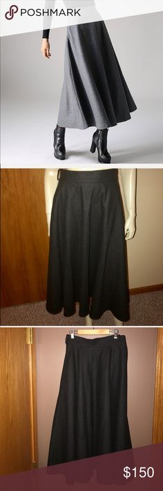 """Adagio Wool Long Full CIRCLE SKIRT w POCKETS Perfect condition. dry clean only. Fully lined/layered. Charcoal gray. There is no size tag. No material tag. Length 32.5"""", Waist 14.5 Adolfo Skirts A-Line or Full"""